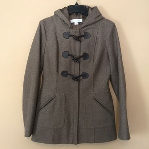 Brown Toggle Peacoat Wool Blend XS NY&Co
